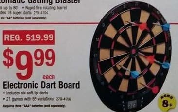 Menards Black Friday: Electronic Dart Board for $9.99