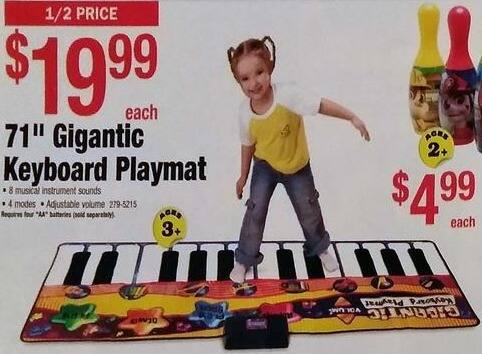 "Menards Black Friday: 71"" Gigantic Keyboard Playmat for $19.99"