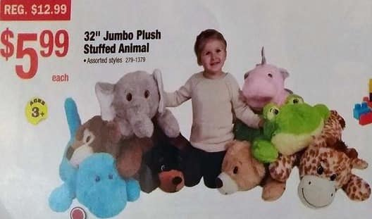 "Menards Black Friday: 32"" Jumbo Plush Stuffed Animals for $5.99"