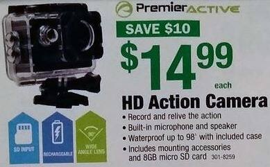 Menards Black Friday: Premier Active HD Action Camera for $14.99