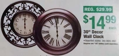 "Menards Black Friday: 30"" Decor Wall Clock for $14.99"