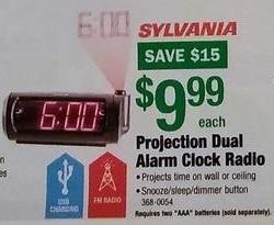 Menards Black Friday: Sylvania Projection Dual Alarm Clock Radio for $9.99