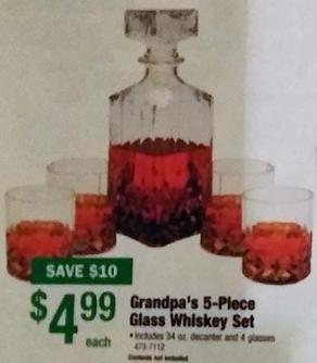 Menards Black Friday: Grandpa's 5-Piece Glass Whiskey Set for $4.99