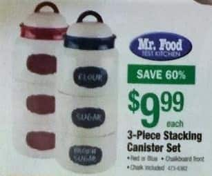 Menards Black Friday: Mr. Food Stacking Canister Set, 3-Piece for $9.99