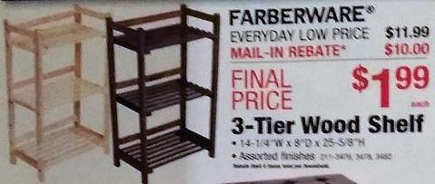 Menards Black Friday: Farberware 3-Tier Wood Shelf for $1.99 after $10 rebate
