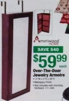 Menards Black Friday: Ameriwood Home Over-The-Door Jewelry Armoire for $59.99