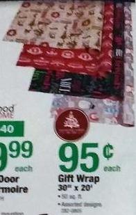"Menards Black Friday: 30"" x 20' Gift Wrap for $0.95"