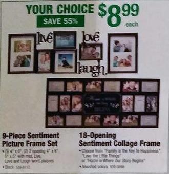 Menards Black Friday: 9-Piece Sentiment Picture Frame Set for $8.99
