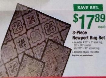 Menards Black Friday: 3-Piece Newport Rug Set for $17.89