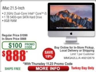 "Frys Black Friday: Apple iMac 21.5"" Desktop: 2.3 Ghz i5, 1TB HDD, 8GB RAM for $888.00"