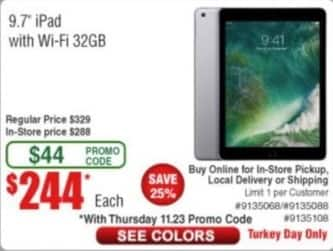 "Frys Black Friday: Apple iPad 9.7"" 32GB Tablet for $244.00"