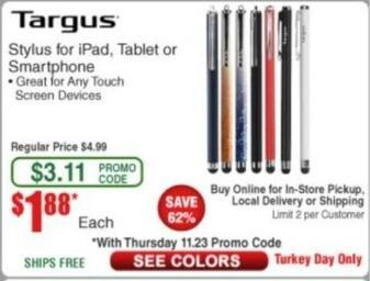 Frys Black Friday: Targus Stylus for iPad, Tablet and Smartphone for $1.88
