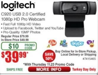 Frys Black Friday: Logitech C920 USB Certified 1080p HD Pro Webcam for $39.99