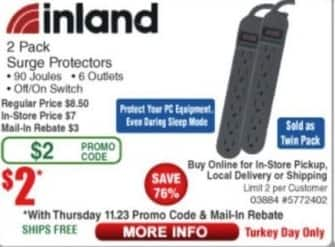 Frys Black Friday: Inland Surge Protector, 2 Pack for $2.00