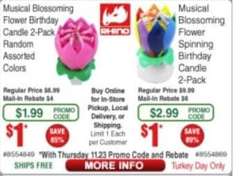 Frys Black Friday: Musical Blossoming Flower Birthday Candle 2-Pack, Assorted Colors for $1.99