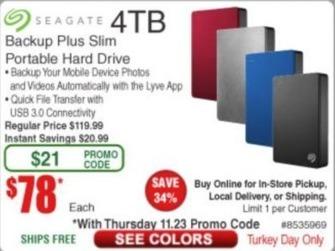 Frys Black Friday: Seagate 4TB Backup Plus Slim Portable Hard Drive for $78.00