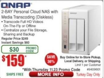 Frys Black Friday: QNAP 2-Bay Personal CLoud NAS with Media Transcoding (Diskless) for $159.00