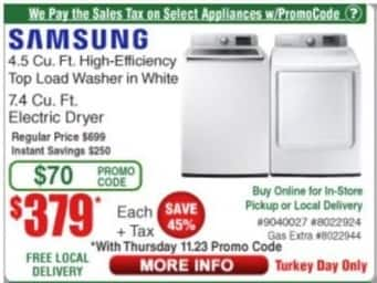 Frys Black Friday: Samsung 4.5 Cu. Ft. High-Efficiency Top Load Washer for $379.99