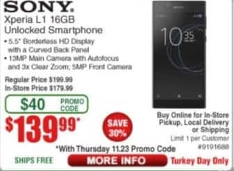 Frys Black Friday: Sony Xperia L1 16GB Unlocked Smartphone for $139.99