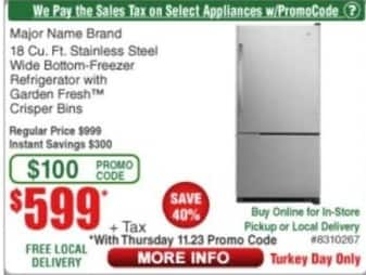 Frys Black Friday: Major Name Brand 18 Cu. Ft. Stainless Steel Wide Bottom-Freezer Refrigerator for $599.00