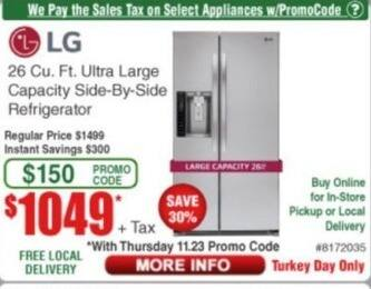 Frys Black Friday: LG 26 Cu. Ft. Ultra Large Capacity Side-by-Side Refrigerator for $1,049.00