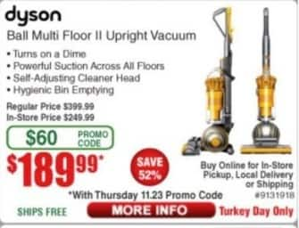 Frys Black Friday: Dyson Ball Multi Floor II Upright Vacuum for $189.99