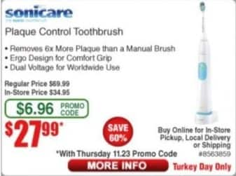 Frys Black Friday: Sonicare Plaque Control Toothbrush for $27.99