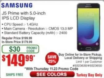 Frys Black Friday: Samsung J5 Prime with 5.0-Inch IPS LCD Display for $149.99