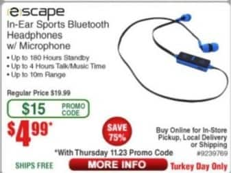 Frys Black Friday: Escape In-Ear Sports Bluetooth Headphones w/ Microphone for $4.99