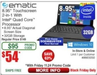 "Frys Black Friday: eMatic 8.95"" 2-in-1 Tablet: Intel Quad Core, 32GB Storage for $54.00"