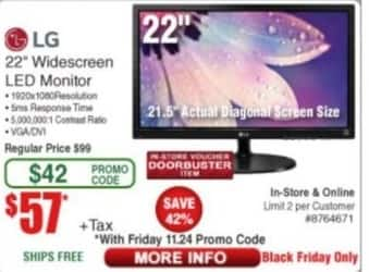 "Frys Black Friday: LG 22"" Widescreen LED Monitor for $57.00"