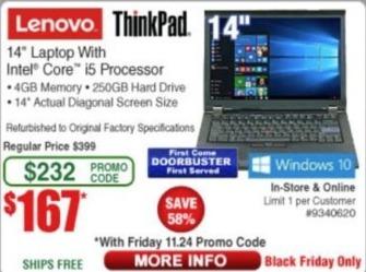 """Frys Black Friday: Lenovo ThinkPad 14"""" Laptop: i5, 250GB HDD, 4GM RAM (Refurb) for $167.00"""