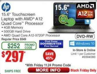 "Frys Black Friday: HP 15.6"" Touchscreen Laptop: A12-8729P, 500GB HDD, 4GB RAM, Win10 for $297.00"