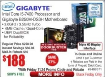 Frys Black Friday: Intel Core i5-7400 CPU and Gigabyte B250M-DS3H Motherboard for $188.00 after $10 rebate