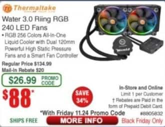 Frys Black Friday: Thermaltake Water 3.0 Riing Video Card Cooler w/ 240-LED Fans for $88.00 after $20 rebate
