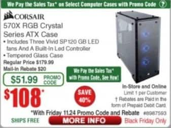Frys Black Friday: Corsair 570X RGB Crystal Series ATX Case for $108.00
