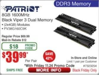 Frys Black Friday: Patriot 8GB (2x4GB) 1600MHz Black Viper 3 DDR3 Dual Memory for $39.99