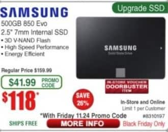 Frys Black Friday: Samsung 500GB 850 Evo SSD for $118.00
