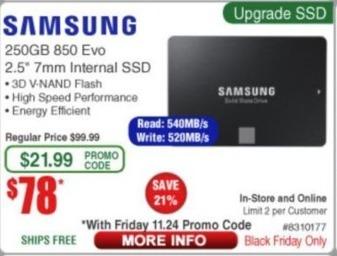 Frys Black Friday: Samsung 250GB 850 Evo SSD for $78.00
