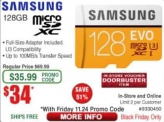 Frys Black Friday: Samsung 128GB Evo MicroSDXC Memory Card for $34.00