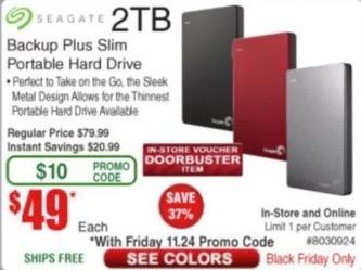 Frys Black Friday: Seagate 2TB Backup Plus Slim Portable Hard Drive for $49.00