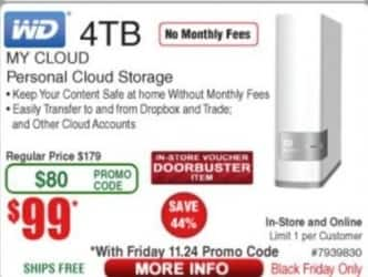 Frys Black Friday: WD 4TB My Cloud Personal Cloud Storage for $99.00