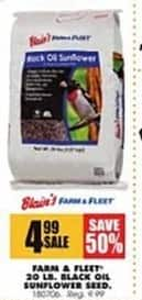 Blains Farm Fleet Black Friday: Farm & Fleet 20 lb. Black Oil Sunflower Seed for $4.99