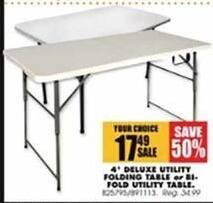 Blains Farm Fleet Black Friday: 4' Deluxe Utility Folding Table for $17.49