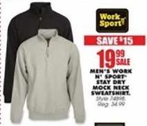 Blains Farm Fleet Black Friday: Work n' Sport Men's Stay Dry Mock Neck Sweatshirt for $19.99