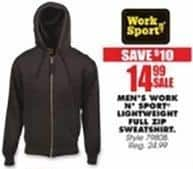Blains Farm Fleet Black Friday: Work n' Sport Men's Lightweight Full Zip Sweatshirt for $14.99