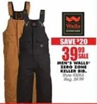 Blains Farm Fleet Black Friday: Walls Men's Zero Zone Keller Bib for $39.99