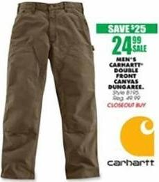 Blains Farm Fleet Black Friday: Carhartt Men's Double Front Canvas Dungaree for $24.99