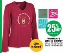 Blains Farm Fleet Black Friday: Life is Good Women's Apparel - 25% Off
