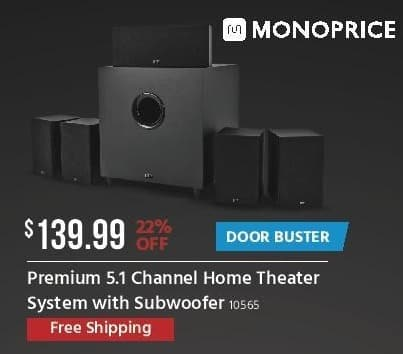 Monoprice Black Friday: Premium 5.1 Channel Home Theater System w/ Subwoofer for $139.99